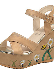 Women's Sandals Summer Comfort PU Outdoor Block Heel Buckle Ribbon Tie Beige Black Walking