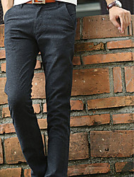 Men's High Rise Micro-elastic Chinos Pants,Vintage Straight Solid