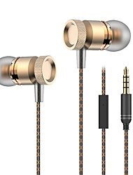 Hifi металлических наушники с микрофоном для мобильного телефона универсальной проводного наушники сабвуфер гарнитура стерео наушника