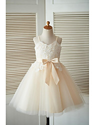 A-line Knee-length Flower Girl Dress - Lace Tulle Spaghetti Straps with Buttons Sash / Ribbon
