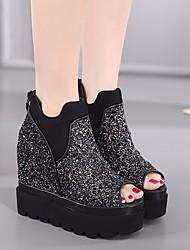 Женские туфли весна комфорт pu casual серебристый черный