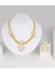 Set de Bijoux Bracelets Rigides Collier court /Ras-du-cou Cristal Strass Alliage Forme de Feuille Or1 Collier 1 Paire de Boucles