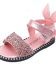 Girls' Sandals Comfort Flower Girl Shoes Leatherette Spring Summer Casual Dress Party & Evening Rhinestone Magic Tape Flat HeelBlack
