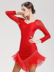 Latin Dance Dresses Women's Performance Spandex 1 Piece Long Sleeve Natural Dress