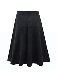 Women's Mid Rise Midi Skirts A Line Solid