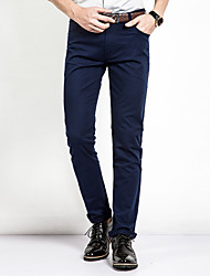 Men's Mid Rise Micro-elastic Chinos Business PantsSimple Straight Slim Solid CY-1601