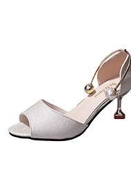 Women's Sandals Spring Summer Comfort Leatherette Dress Casual Cone Heel Imitation Pearl Walking