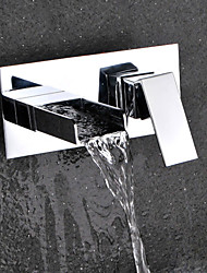Contemporary  Wall Mounted Waterfall with  Ceramic Valve Single Handle Double Holes for  Chrome Finish  Bathroom Basin Sink Faucet