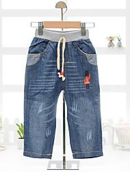 Unissex Jeans Casual Cor Única Verão
