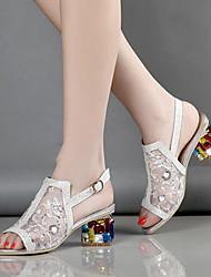 Mujer-Tacón Robusto-Confort Innovador Zapatos del club-Sandalias-Boda Vestido Fiesta y Noche-Tul Microfibra-