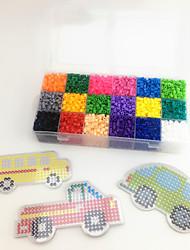 Approx 5400PCS 18 Color 5MM Fuse Beads Set with 3PCS Random Mixed Shape Template Clear Pegboard Car Truck School Bus DIY Jigsaw(Set A 18*300PCS)