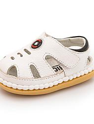 Kids' Baby Sandals First Walkers Cowhide Summer Casual First Walkers Flat Heel White Black Blue Flat
