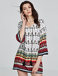 Women's Boho Going out Formal Sexy Simple Sheath Dress,Solid Round Neck Above Knee Long Sleeve Cotton Acrylic Red Beige Black All SeasonsHigh