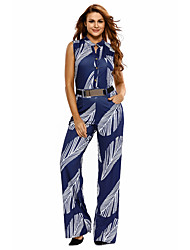 Women's Navy White Print Button Front Belted Jumpsuit