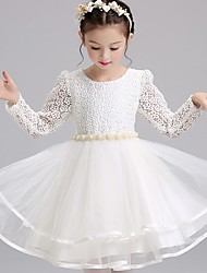 Ball Gown Short / Mini Flower Girl Dress - Lace Satin Tulle Jewel with Beading Bow(s) Embroidery Sash / Ribbon