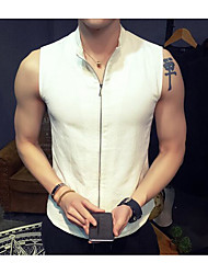 Men's Casual/Daily Sweatshirt Solid Stand strenchy Cotton Sleeveless Summer