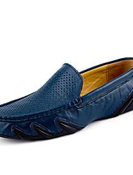 Herren Schuhe Leder Frühling Sommer Komfort Tauchschuhe Loafers & Slip-Ons Für Sportlich Normal Schwarz Braun Blau