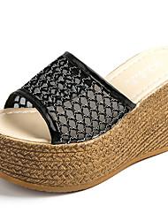 Mujer Sandalias Confort PU Verano Confort Tacón Cuña Blanco Negro 12 cms y Más