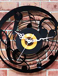 Retro Office/Business Holiday Music Wall ClockNovelty Acrylic Metal Indoor Clock30cm