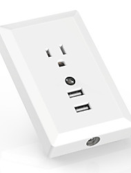 AIAWISS LED Night Light with Automatic Dusk to Dawn Sensor and 5V 2.4A Dual USB Wall outlet ChargerWall Socket Adapter Plug White