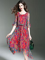 Women's Plus Size Going out Beach Street chic Slim Swing Dress Print Round Neck Asymmetrical  Length Sleeve Flare Sleeve Silk Spring /Summer