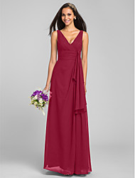 LAN TING BRIDE Floor-length Chiffon Mini Me Bridesmaid Dress - Sheath / Column V-neck Plus Size / Petite with Criss Cross