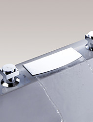 Contemporary Widespread Waterfall with  Ceramic Valve Double Levers Three Holes for Chrome Bathroom Basin Sink Faucet