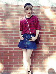 Damen Gestreift Einfach Ausgehen Urlaub T-shirt,Rundhalsausschnitt Kurzarm Baumwolle
