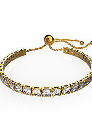 Women's Chain Bracelet Crystal AAA Cubic Zirconia Fashion Crystal Copper Gold Plated Round Jewelry ForWedding Party Special Occasion