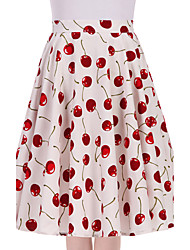Women's White Cherry Floral Going out Casual/Daily Knee-length Skirts Vintage Swing Dress All Seasons Mid Rise