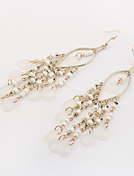 Drop Earrings Tassel Euramerican Bohemian Acrylic Alloy Teardrop White Jewelry For Daily 1 Pair