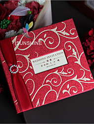 Classical Red Hard Cardboard Wedding and Birthday Invitations Cards With Ribobn And Rhinestone Buckle HKP2012