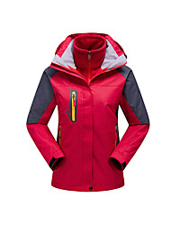 Women's 3-in-1 Jackets Waterproof Thermal / Warm Windproof Fleece Lining Rain-Proof Wearable Breathable Detachable Cap Comfortable