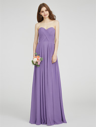 LAN TING BRIDE Floor-length Chiffon Bridesmaid Dress - A-line Sweetheart Plus Size / Petite with Criss Cross / Ruching