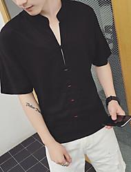 Masculino Camisa Social Casual SimplesSólido Linho Colarinho Chinês Manga Curta