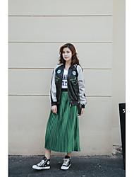 Damen Mittlere Hüfthöhe Midi Röcke Schaukel einfarbig