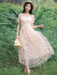 One-Piece/Dress Classic/Traditional Lolita Vintage Inspired Elegant Princess Cosplay Lolita Dress Pink White Lace Vintage Short Sleeve