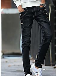 Homme simple Taille Normale Micro-élastique Jeans Pantalon,Sarouel Couleur Pleine