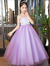 Princesa Hasta el Tobillo Vestido de Niña Florista - Satén Tul Lentejuelas Joya con Detalles de Cristal Encaje