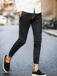 Men's Low Rise Micro-elastic Jeans Pants,Simple Loose Solid