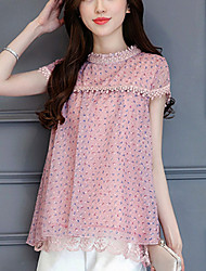 Women's Slim Cute Summer Blouse Print Patchwork Lace Cut Out Round Neck Short Sleeve Polyester Thin