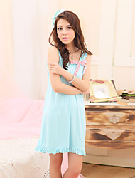 Women's Sleep Dress Solid Color Ruffles Facing O Neck Cute Bow Sweet Night Dress