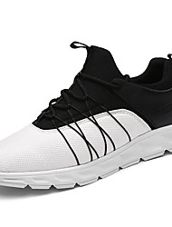 Черный Черно-белый Цвет экрана-Для мужчин-Повседневный-Синтетика-На плоской подошве-Удобная обувь-Спортивная обувь