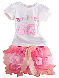 Little Girls Happy Birthday Embroidery T-shirt & Cake Layered Skirt