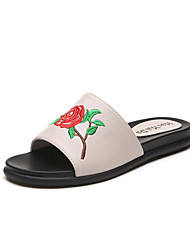 Women's Slippers & Flip-Flops Summer Mary Jane Leatherette Casual Flat Heel Flower Beige Black Walking