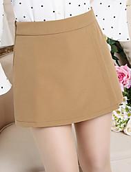 Femme simple Taille Haute Micro-élastique Short Pantalon,Ample Couleur unie Effets superposés Couleur Pleine