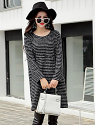 Women's Casual/Daily Work Sweater Dress,Striped Round Neck Mini Long Sleeves Wool Spring Winter Mid Rise Micro-elastic Thick