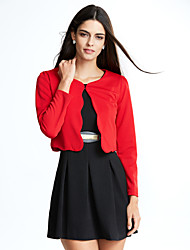 Women's Plus Size/Going out Simple Two Piece Dress,Round Neck Above Knee Long Sleeve Red/Black Polyester Fall