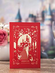 Personalizado Dobrado de Lado Convites de casamentoEtiqueta do envelope Fan programa O menu do casamento Cartões de convite Cartões de