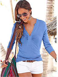 Women's Casual/Daily Sexy Summer Shirt,Solid V Neck Long Sleeve Silk Sheer